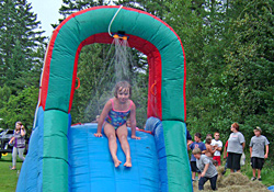 Inflatable water slide at Char-Bo Campground