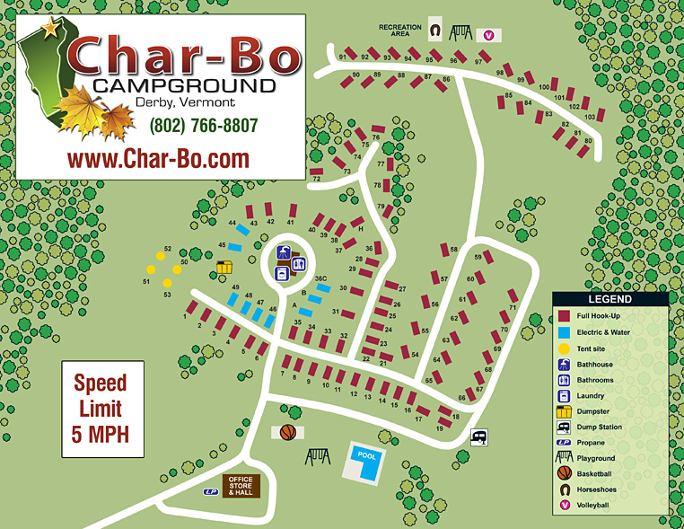Char-Bo Campground Site Map. You may click on this file for a higher resolution PDF file, where you may view greater detail or print.